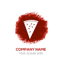 classic pizza icon - red watercolor circle splash vector image