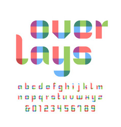 color font alphabet with overlay effect letters vector image