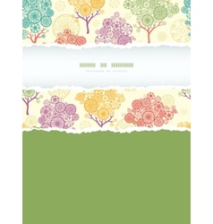 Colorful abstract trees vertical torn frame vector