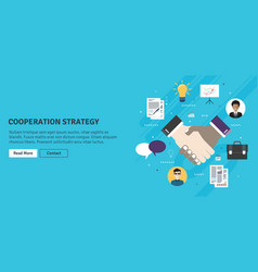 cooperation strategy and handshake in contract vector image