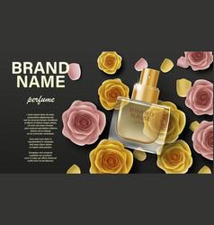 Cosmetics product perfume advertising branding vector