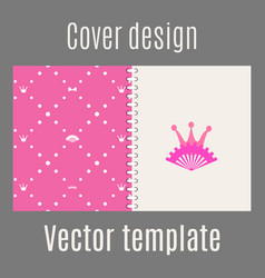 Cover design with pink princess pattern vector