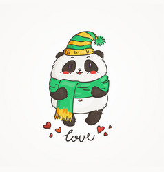 cute panda in scarf and hat wildlife ecology vector image vector image