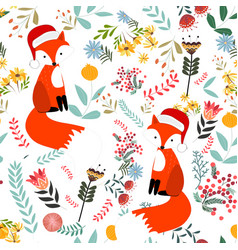 cute sweet merry christmas fox in flower and vector image