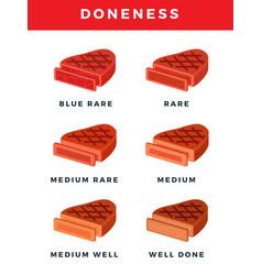 Degrees steak doneness flat vector