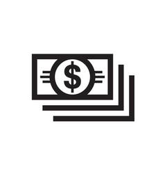 dollar money - black icon on white background vector image
