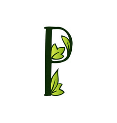 Doodling eco alphabet letter ptype with leaves vector