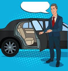 driver waiting ner black limousine pop art vector image