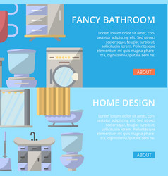 Fancy bathroom poster set in flat style vector
