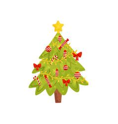 flat icon of christmas tree home decor vector image