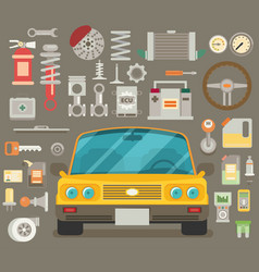 flat icons and repair of machines and equipment vector image