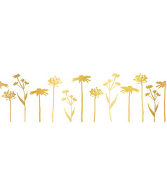 floral seamless border metallic gold foil vector image