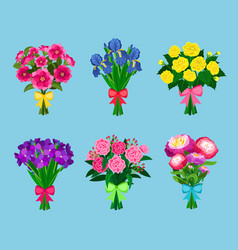 Flowering bouquets set isolated on blue background vector