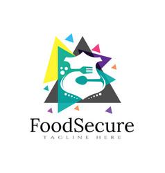 Food logo shield icon colorful concept vector
