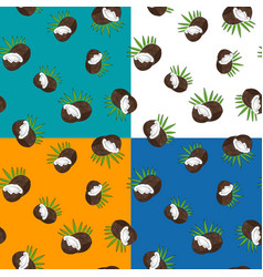 Four seamless pattern with coconut vector