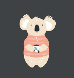 funny cute koala in sweater drinking tea vector image