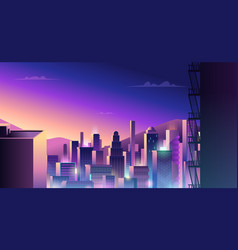futuristic urban landscape cyberpunk town with vector image