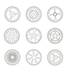 gears cogs wheels or sprocket line icon set vector image