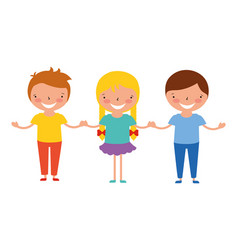 Girl and boys holding hands friends vector