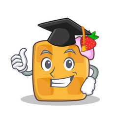 graduation waffle character cartoon design vector image