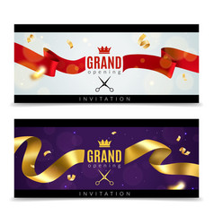 Grand opening banners luxury festive invitation vector