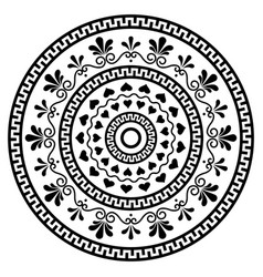 greek boho mandala design with key pattern vector image