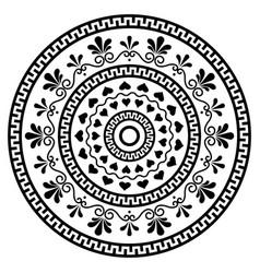 Greek boho mandala design with key pattern vector