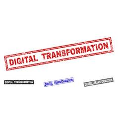 Grunge digital transformation textured rectangle vector