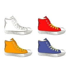 Hand drawn sneakers gym shoes Keds vector
