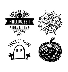 Happy Halloween design collection Black badges vector image
