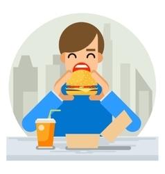 happy man eating hamburger sandwich icon fast food vector image