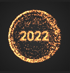 happy new year 2022 golden explosion particles vector image