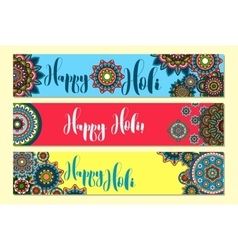 Holi Holiday Horizontal banners vector