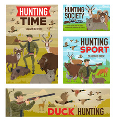 Hunting animal and birds hunters guns and tent vector