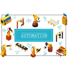isometric automated industrial machines concept vector image