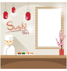 Japanese Chef at Sushi Counter with Blank Sign vector image