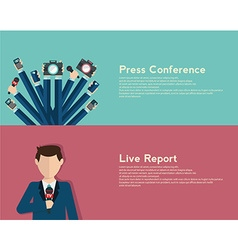 Journalism concept in flat style live report vector