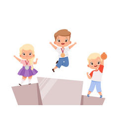 Kids victory children on pedestal with medals vector