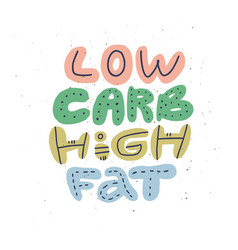 low carb high fat cartoon stylized lettering vector image