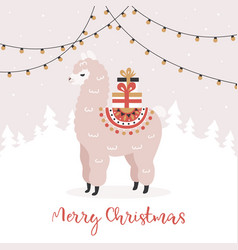 merry christmas greeting card cute alpaca with vector image