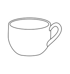 Monochrome contour with cup of coffee close up vector