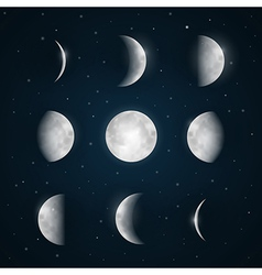 Moon Phases - Night Sky with Stars vector