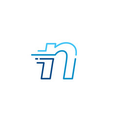 N letter dash lowercase tech digital fast quick vector