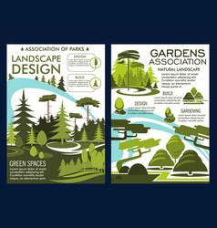Nature landscape design service green park posters vector