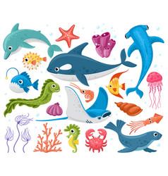ocean animals cartoon marine wildlife creatures vector image