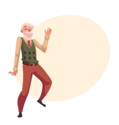 Old senior gray-haired man dancing happily vector