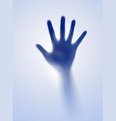 Open hand in blue mist designer vector