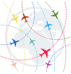 plane with dashed path lines airplane flight vector image