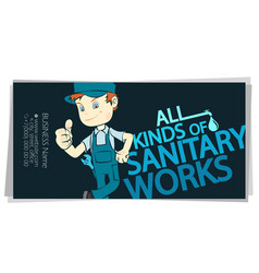 plumber in uniform and water pipes business card vector image