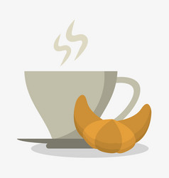 Porcelain cup of coffee in crockery with croissant vector